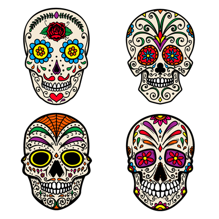 Set of colorful sugar skull isolated on white background. Day of the dead. Dia de los muertos. Design element for poster, card, banner, print. Vector illustration Foto de archivo - 105126180