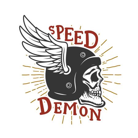 Speed demon. Skull in winged helmet. Design element for poster,card, t shirt, emblem, sign. Vector illustration Иллюстрация