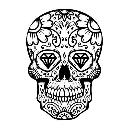 Sugar skull isolated on white background. Day of the dead. Dia de los muertos. Design element for poster, card, banner, print. Vector illustration Иллюстрация