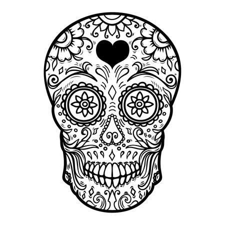 Sugar skull isolated on white background. Day of the dead. Dia de los muertos. Design element for poster, card, banner, print. Vector illustration Ilustração