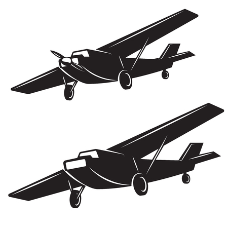 Airplane icons on white background. Design element for logo, label, badge, sign.