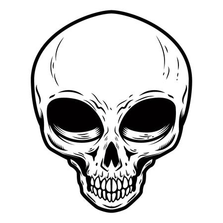 Illustration of alien skull isolated on white background. Design element for poster, card, banner, t shirt. Archivio Fotografico