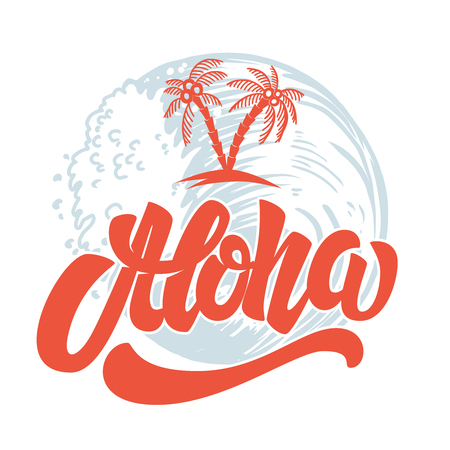Aloha. Hand drawn lettering with sea waves background. Design element for poster, print, card, emblem, sign. 스톡 콘텐츠