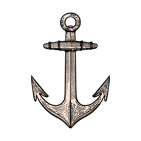 Hand drawn anchor illustration in engraving style. Design element for poster, t shirt, emblem, sign.
