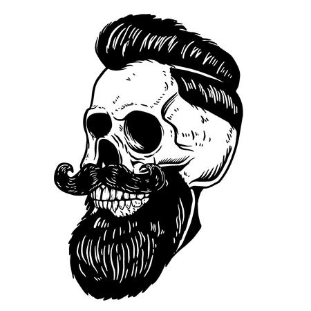 Hand drawn illustration of bearded skull isolated on white background. Design element for barber shop poster, card, emblem, sign, label.