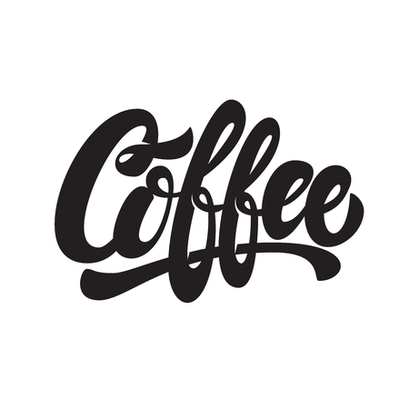 Coffee. Lettering phrase isolated on white background. Design element for emblem, sign, poster, flyer, banner.