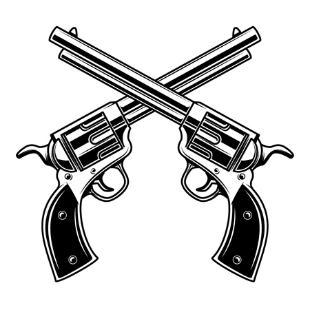 Emblem template with crossed revolvers. Design element for logo, label, emblem, sign. 스톡 콘텐츠
