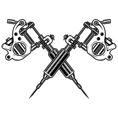Máquinas de tatuaje cruzadas aisladas sobre fondo blanco. Elemento de diseño de cartel, emblema, letrero, insignia.