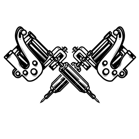 Crossed tattoo machines isolated on  white background. Design element for poster, emblem, sign, badge. illustration Stock Photo