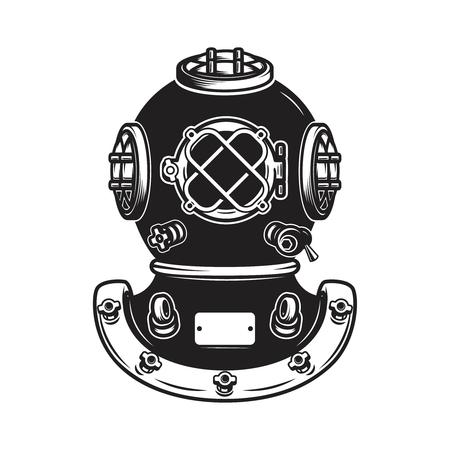 Retro-Art-Taucherhelm lokalisiert auf weißem Hintergrund. Gestaltungselement für Logo, Etikett, Zeichen, Plakat, Menü. Standard-Bild