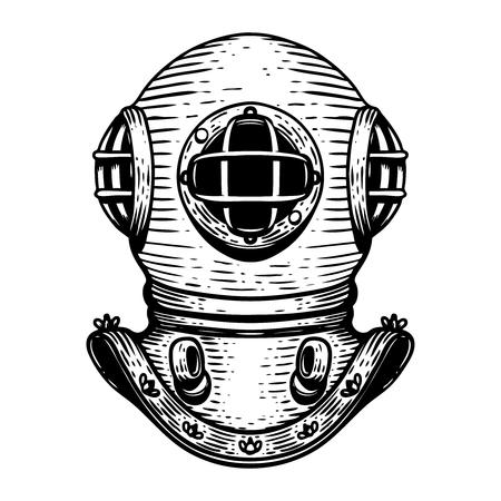 Hand gezeichnete Retro-Art-Taucherhelmillustration auf weißem Hintergrund. Gestaltungselemente für Logo, Etikett, Emblem, Zeichen, Abzeichen.