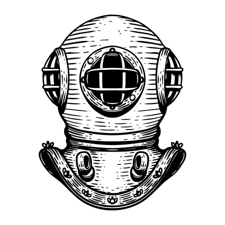 Hand drawn retro style diver helmet illustration on white background. Design elements for logo, label, emblem, sign, badge.