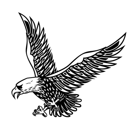 Eagle illustration on white background. Design element for poster, card, print, logo, label, emblem, sign.