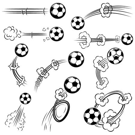 Set of football, soccer balls with motion trails in comic style. Design element for poster, banner, flyer, card.