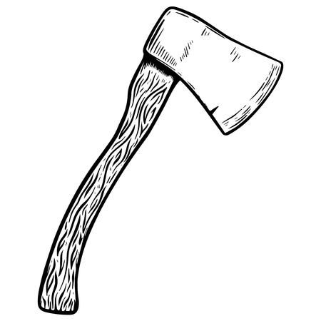 Hatchet illustration on white background. Design elements for poster, emblem, sign.