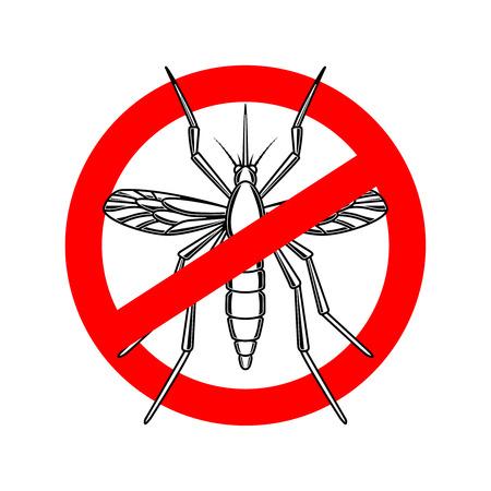 Mosquito danger sign template. Design element for poster, card, emblem, logo.
