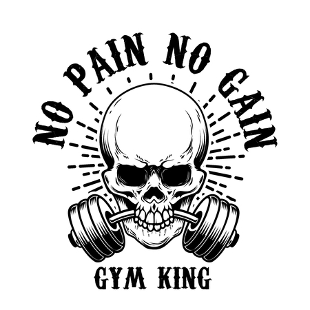 no pain no gain. Skull with barbell in teeth. Design element for poster, card, t shirt, emblem, sign.
