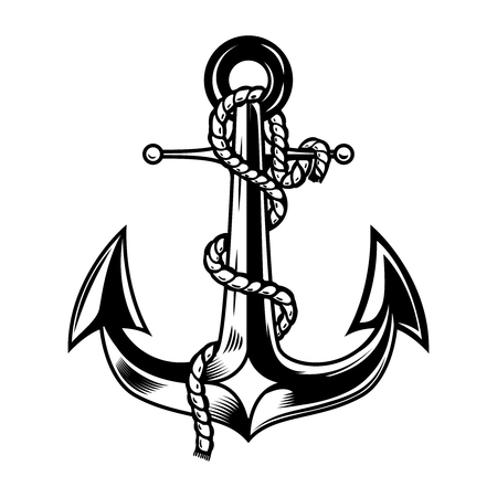 Anchor illustration isolated on white background. Design element for logo, label, emblem, sign. illustration