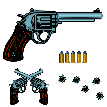 Revolver colorful illustration. Gun bullets and holes. Design element for poster, emblem, sign, banner.