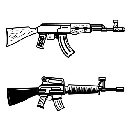 Kalashnikov, m16 automatic rifle. Design element for emblem, sign, poster, t shirt.