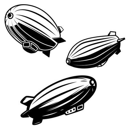 Set of aerostat illustrations on white background. airships zeppelins. Design elements for logo, label, emblem, sign.