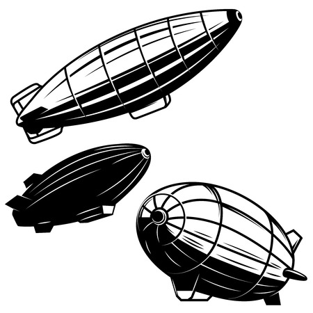 Set of aerostat illustrations on white background. airships zeppelins. Design elements for logo, label, emblem, sign.