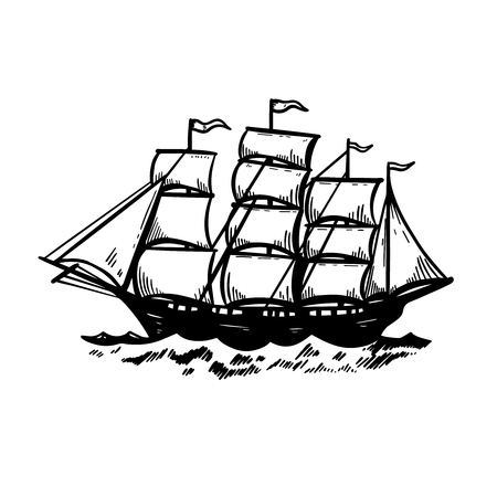 Illustration of vintage sea ship. Design element for poster, card, emblem, sign, banner.
