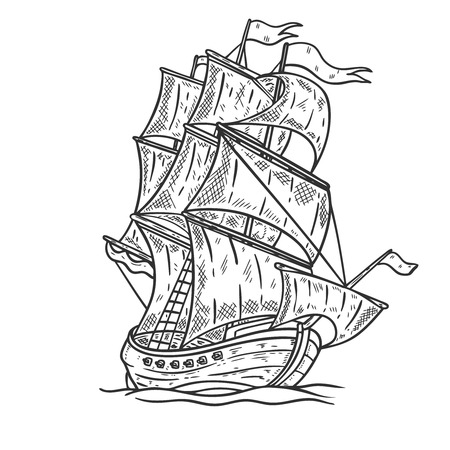 Hand drawn sea ship illustration on white background. Design element for poster, card, t shirt, emblem.
