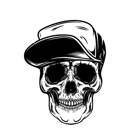 Skull in baseball cap. Design element for poster, emblem, t shirt. Archivio Fotografico - 105217769