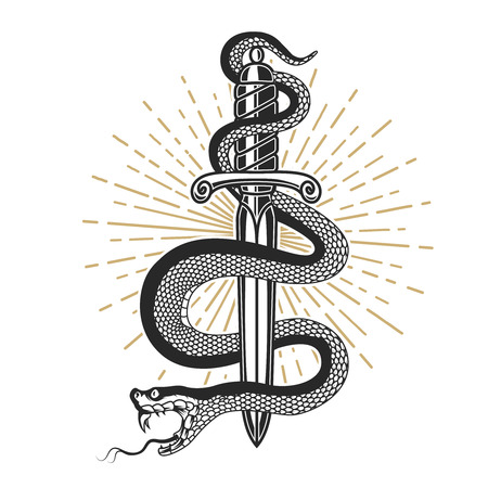 Snake on knife in tattoo style. Design element for t shirt, poster, card, emblem, sign. Stock Photo