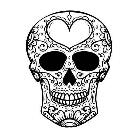 Sugar skull isolated on white background. Day of the dead. Dia de los muertos. Design element for poster, card, banner, print. Stock Photo - 105217885
