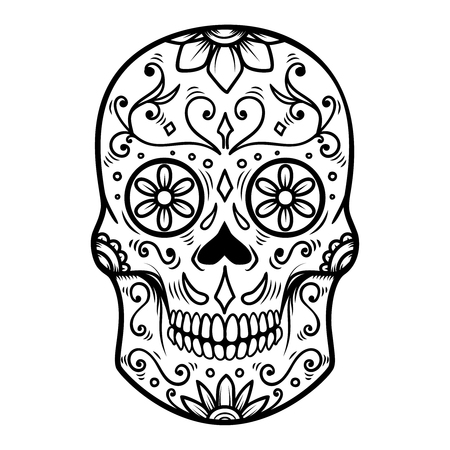 Sugar skull isolated on white background. Day of the dead. Dia de los muertos. Design element for poster, card, banner, print. Stockfoto