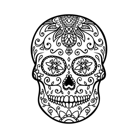 Sugar skull isolated on white background. Day of the dead. Dia de los muertos. Design element for poster, card, banner, print. Stock Photo
