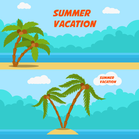 Summer vacation. Set of cartoon style banners with palms and beach. Stock Photo