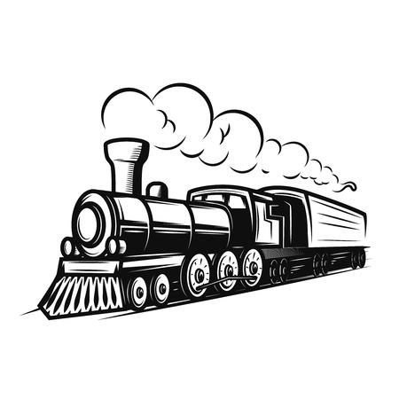 Retro illustrazione del treno isolata su fondo bianco. Elemento di design per logo, etichetta, emblema, segno.