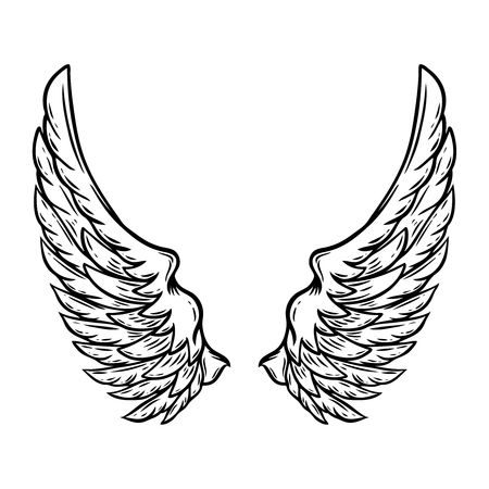 Hand drawn wings isolated on white background. Design element for poster, card, t shirt. Archivio Fotografico