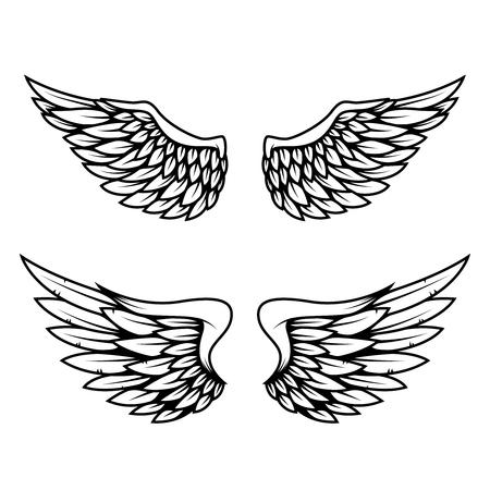 Set of wings isolated on white background. Design element for logo, label, emblem, sign. Imagens