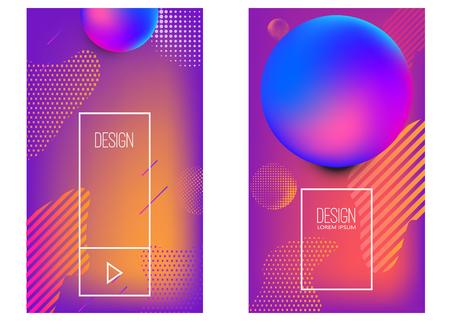 Ensemble de modèles de conception de bannière avec des formes abstraites dégradées vibrantes. Élément de conception pour affiche, carte, flyer, présentation, brochures, couverture. Image vectorielle