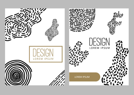 Abstract background with hand drawn design elements. Design element for poster, card, banner. Vector illustration Illustration