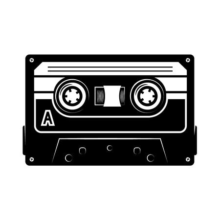 Audio cassette illustration. Design element for logo, label, emblem, sign, poster, t shirt. Vector image