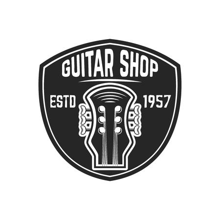 Guitar shop emblem template. Design element for sign, badge, t shirt, poster. Vector illustration