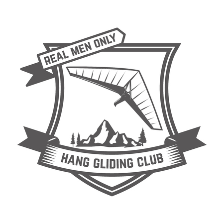Hang gliding club emblems template. Design element for sign, badge, t shirt, poster. Vector illustration