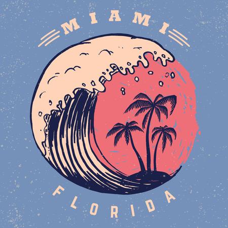 Miami. Modello di poster con scritte e palme. Immagine vettoriale