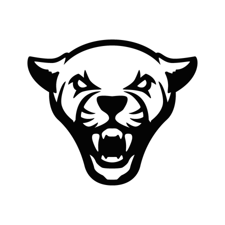 puma head sign. Design element for sport team logo, emblem, badge, mascot. Vector illustration  イラスト・ベクター素材