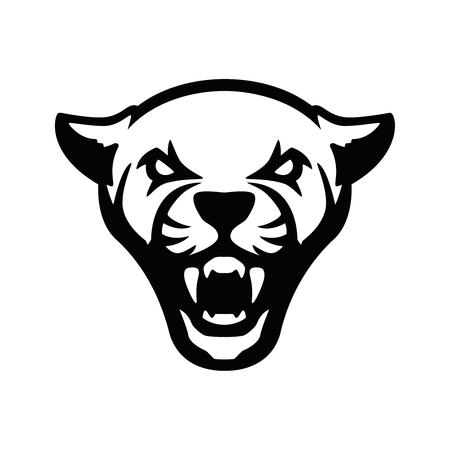 znak głowy pumy. Element projektu logo drużyny sportowej, godło, odznaka, maskotka. Ilustracja wektorowa Logo