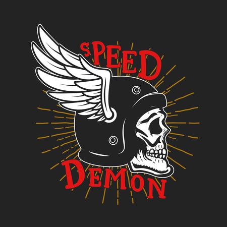 Speed demon. Skull in winged helmet. Design element for poster,card, t shirt, emblem, sign. Vector illustration Illustration