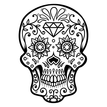 Sugar skull isolated on white background. Day of the dead. Dia de los muertos. Design element for poster, card, banner, print. Vector illustration Ilustração