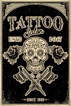 Tattoo studio poster template. Skull with crossed tattoo machines on grunge background. Design element for logo, label, emblem, sign, poster. Vector illustration Illustration