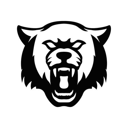 Wolfskopfzeichen. Gestaltungselement für Sportmannschaftslogo, Emblem, Abzeichen, Maskottchen. Vektorillustration Logo