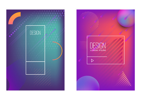 Set of banner design templates with abstract  vibrant gradient shapes. Design element for poster, card, flyer,presentation, brochures,cover. Vector image Vettoriali